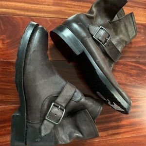 Frye Brown Leather Buckle Boots 'Veronica' size 6